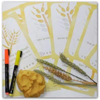 Wheat grain playdough counting mats