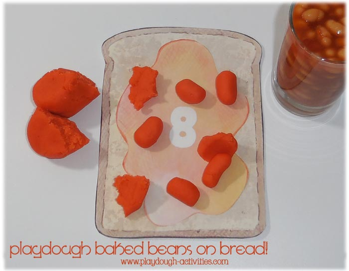 Play dough baked bean rolling counting activity