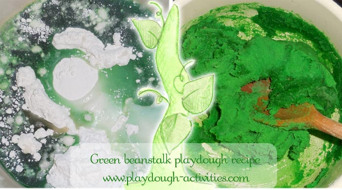 making beanstalk green playdough