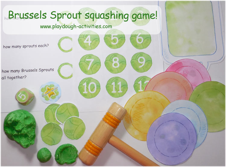 Brussels Sprout vegetable playdough squashing and counting game