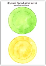 Green & yellow Brussels sprout game plates