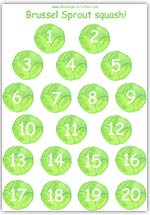 Brussels sprout playdough counting sheet 1-20