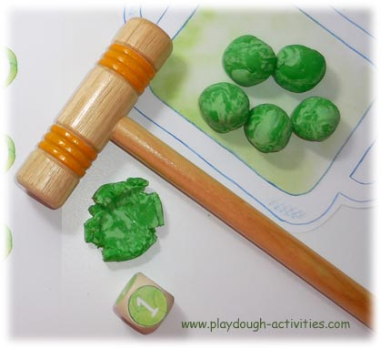 Playdough Brussels Sprouts squashing & counting game activity