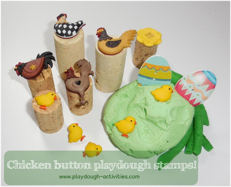 buttons made into playdough stamps