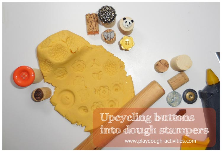 Recycling old and new buttons into playdough surface stamps