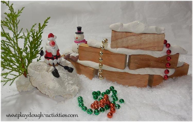 Christmas playdough brick building cement glue