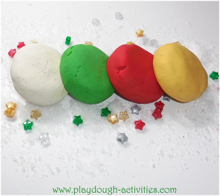 Christmas playdough colours