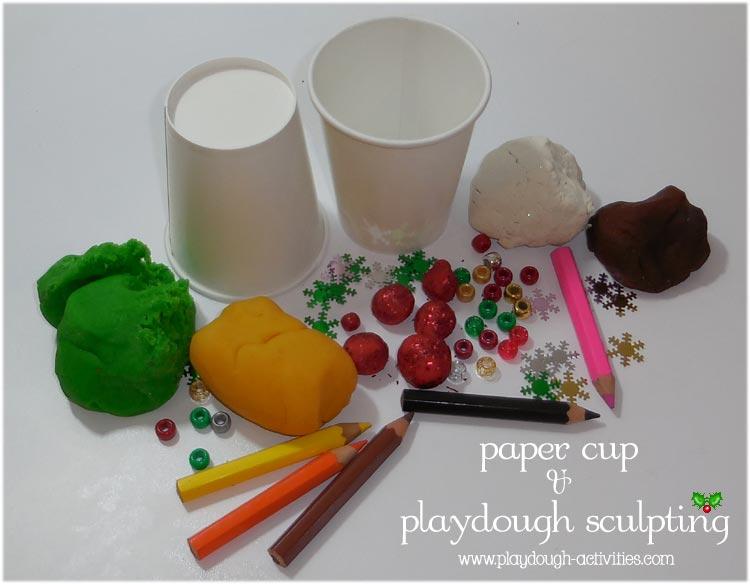 Christmas playdough idea - sculpting art
