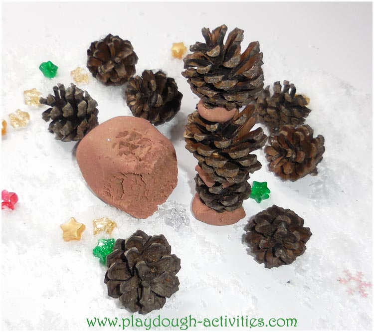 Fir cone towers using brown playdough