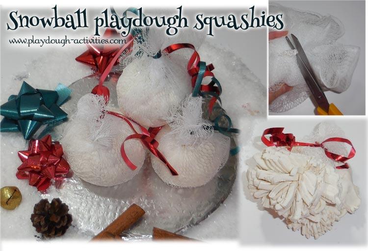 Snowball squashies playdough activity