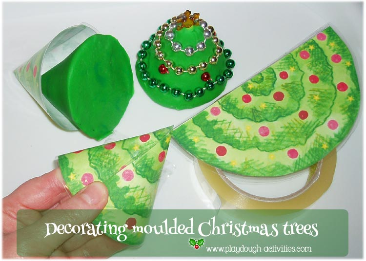 Making playdough Christmas tree moulds to decrate