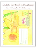 daffodil playdough gift bag topper