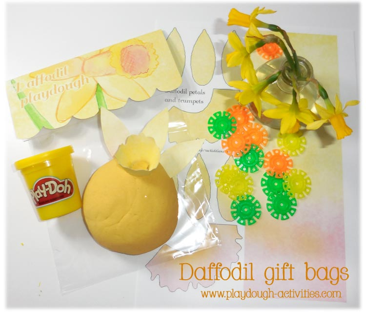 Daffodil playdough gift bag set printable for spring and Easter