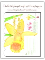 Daffodil on white playdough gift bag printable for Easter and spring
