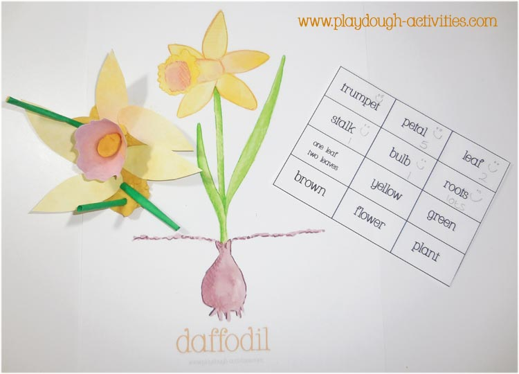 Daffodil playdough mat activity using labels to identify