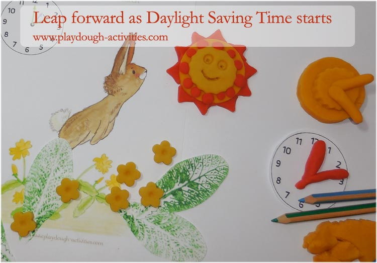 Daylight Saving Time begins in March - leap forward with playdough sun clocks