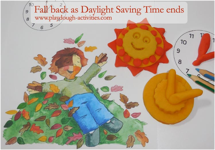 Daylight Saving TIme ends in October - fall back one hour with sun clocks and autumn leaves