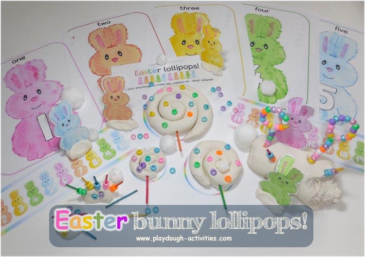 Easter playdough bunny rabbits activity