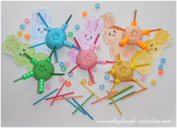Easter playdough bead threading activity idea