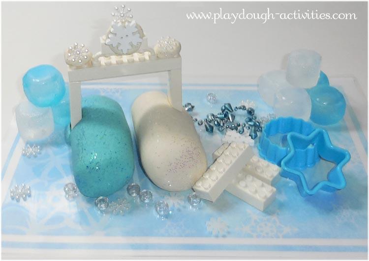Froxen icecube playdough, building activity idea