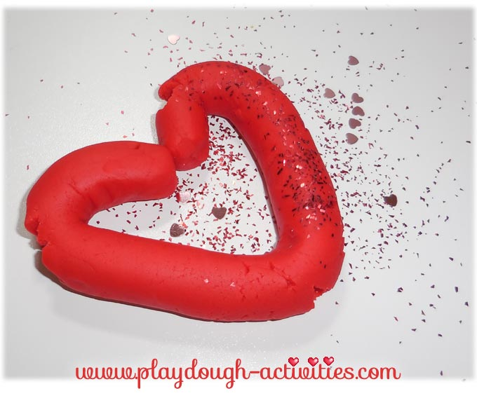 Red playdough love heart