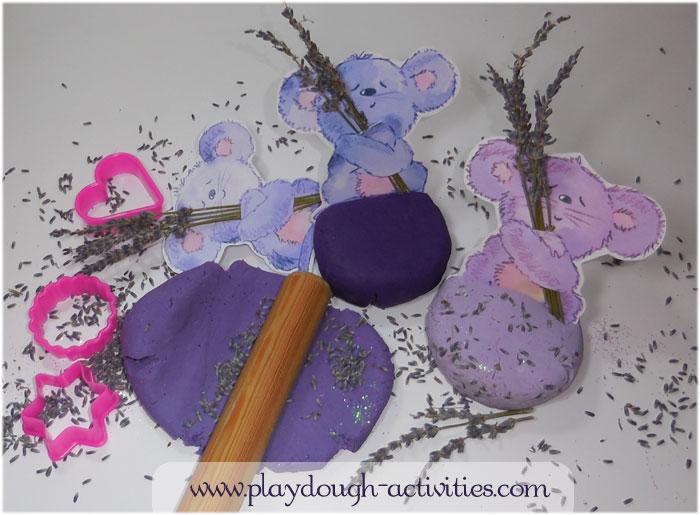 Lavender playdough idea - preschool activity