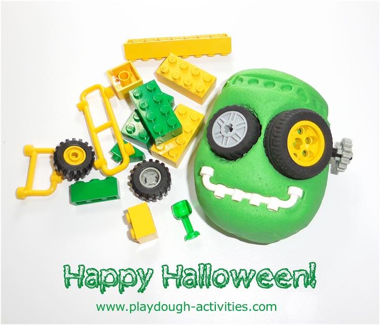 Halloween lego playdough Frankenstein model making