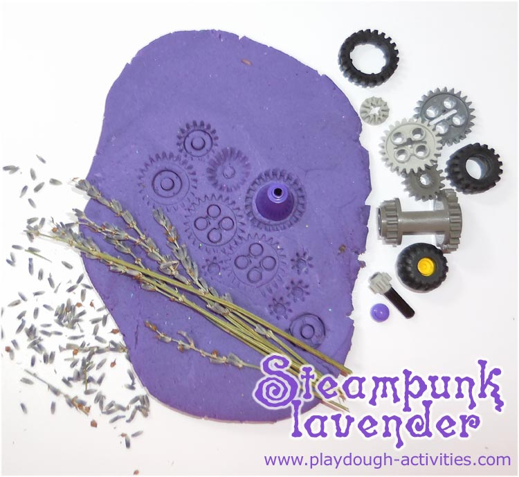 Lego playdough and lavender steampunk activities using gears and cogs