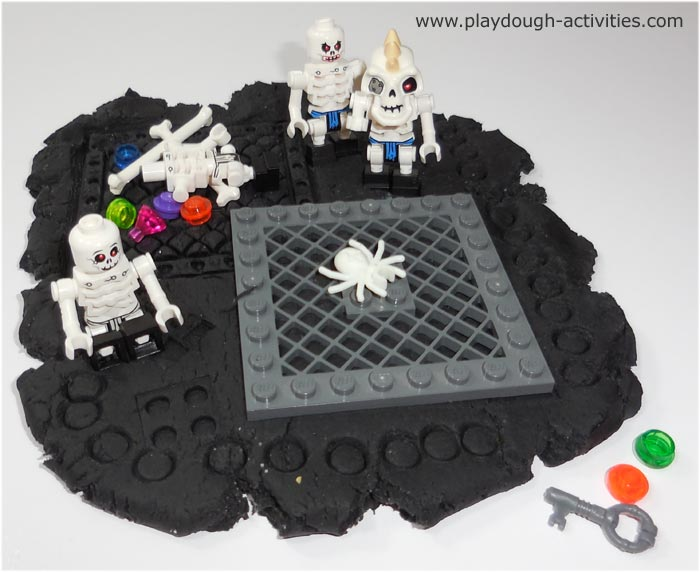 Lego skeletons and playdough roleplay activities