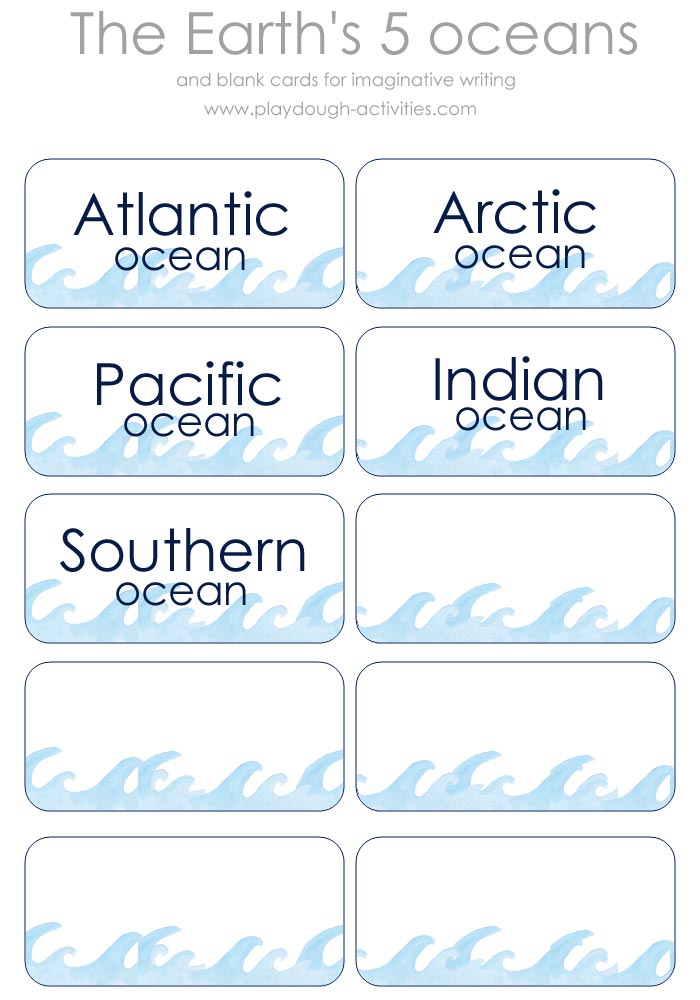 The Five Oceans Of The World Printable Name Cards - Five oceans