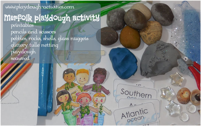 resources needed for a merfolk themed playdough activity