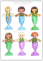 Mermaid role play character printables