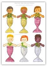 Mermen merboys coloured role play printables