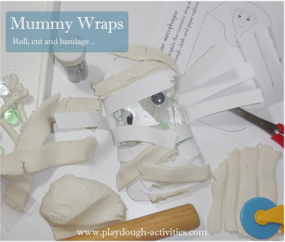 Egyptian mummy wrapping activity for Halloween