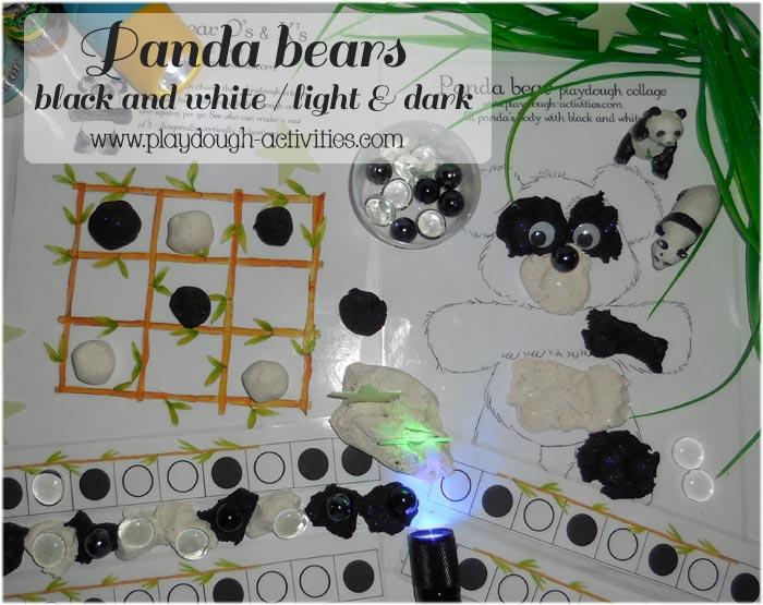 Panda Bear black and white playdough activities
