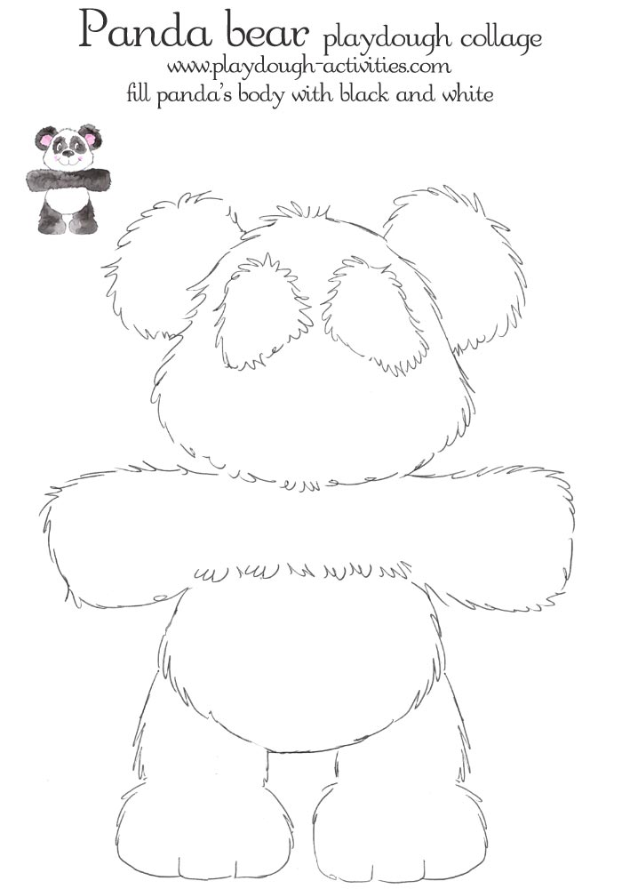 panda bear outline template