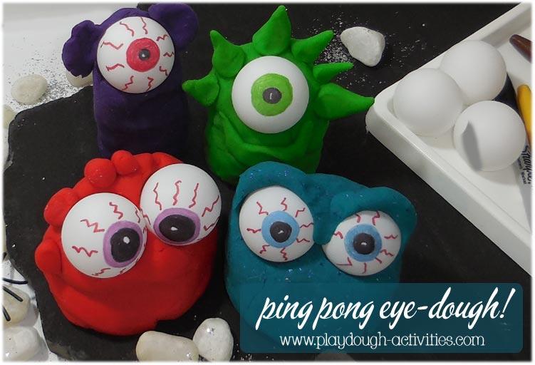 Ping pong eye-ball playdough monster mounds!