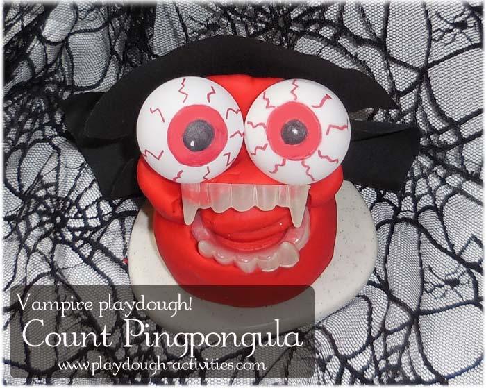Playdough Vampire Count Pingpongula Halloween Vampire dough activity