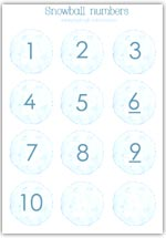 numbered snowball counters 1 - 10