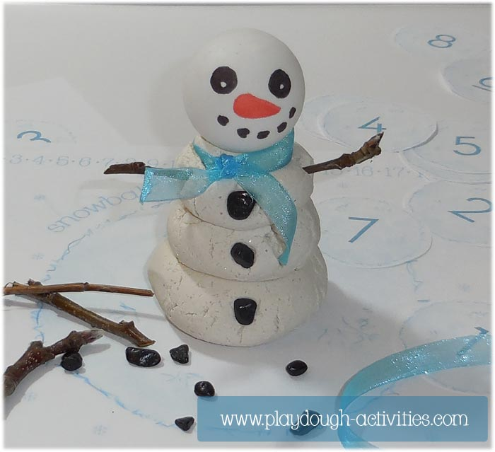 Play dough snowman - snowball tower stacking activity