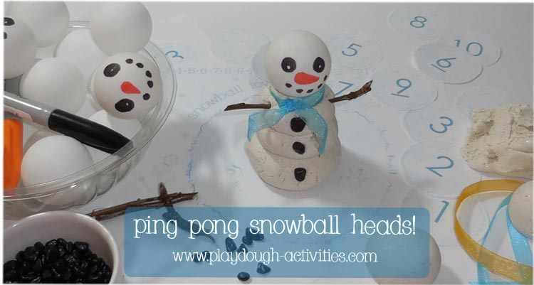 Pingpong snowball tower building with playdough