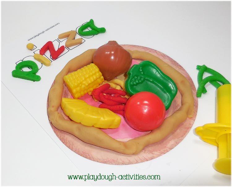 Pizza plydough mat activities