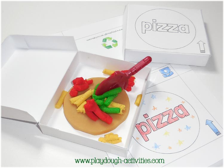 Pretend play pizza making playdough activities