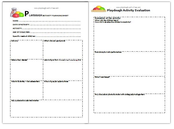 Play dough activity planner and evaluation silkysteps for Play plan