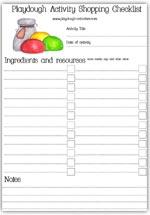 Playdough shopping checklist