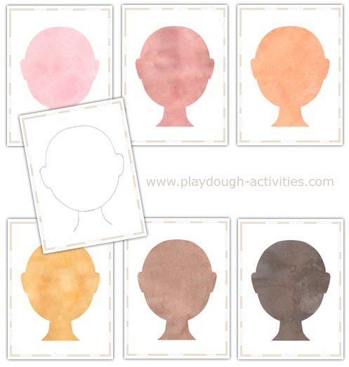 Playdough face mats - outline templates