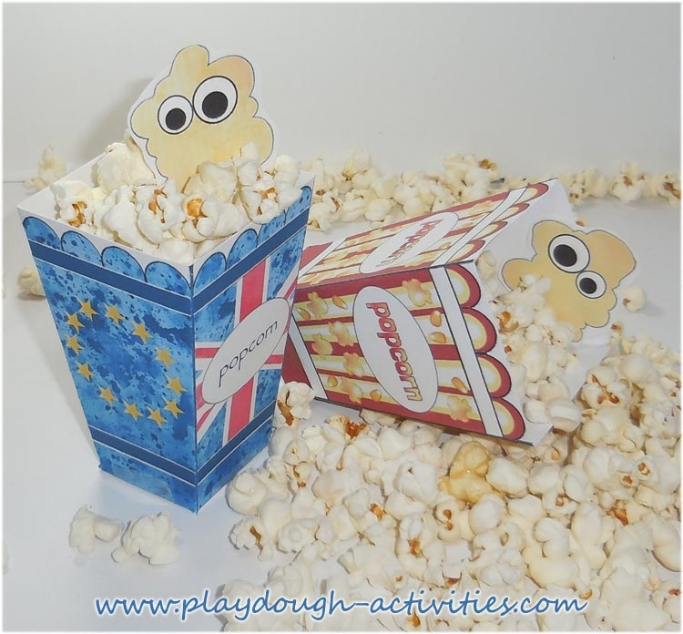 Union jack and European Union flag popcorn box templates