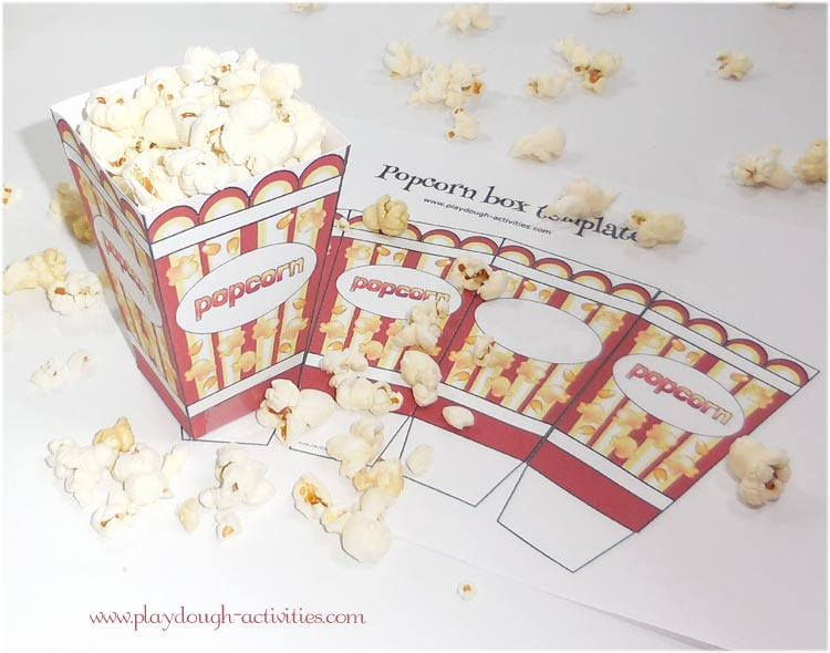 Popcorn box template with space to personalise with a name