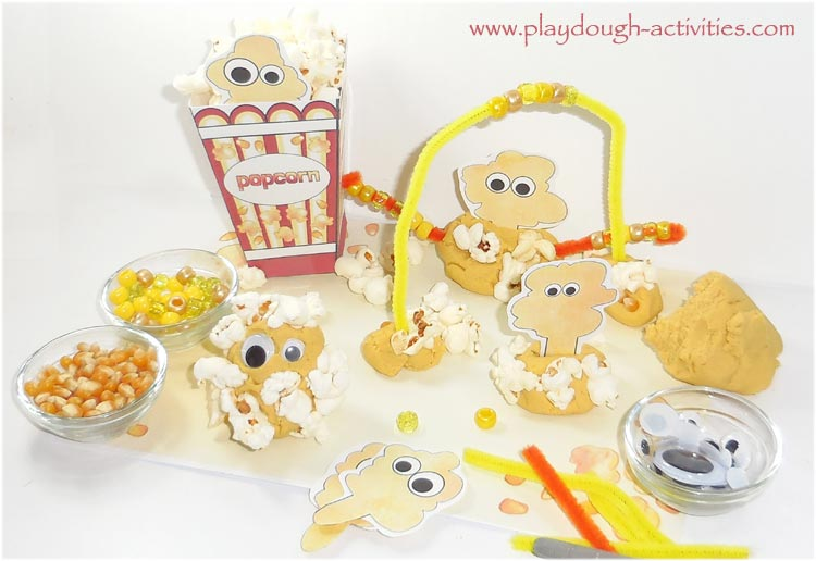 Popcorn play dough activities and ideas