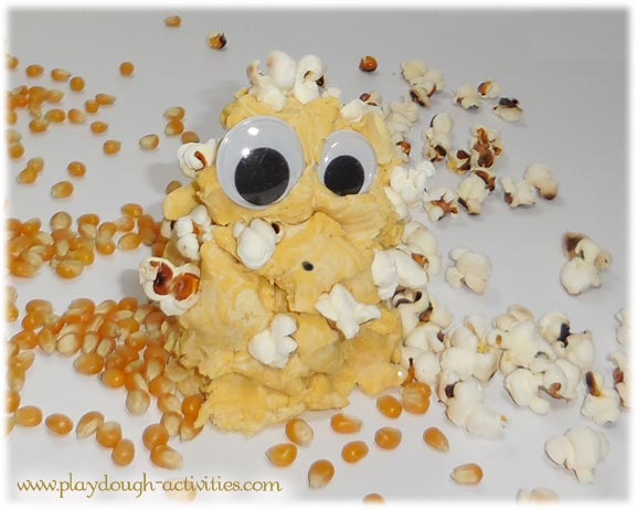 popcorn playdough - munching monster activity